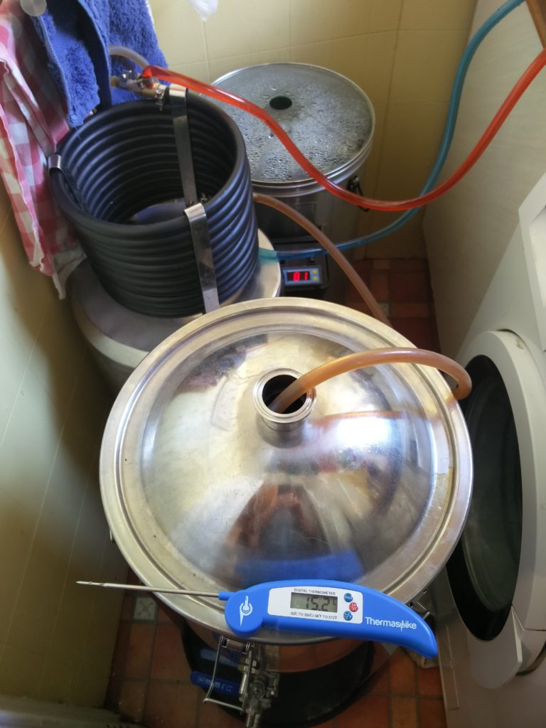 Cooling the wort after the boil, while transferring to the fermenter.
